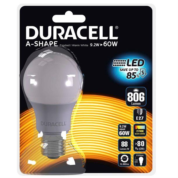 Duracell® LED pære E27 med 806 lumen - (svarer til 60W)