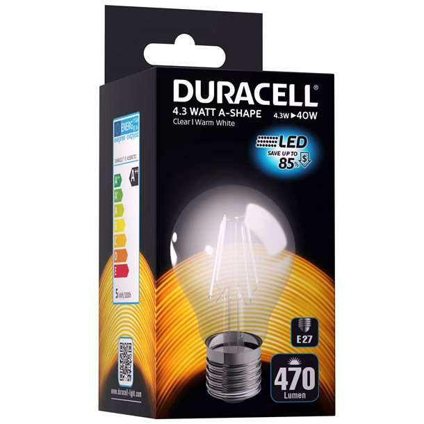 Duracell® LED filament pære E27 med 470 lumen - (svarer til 40W)