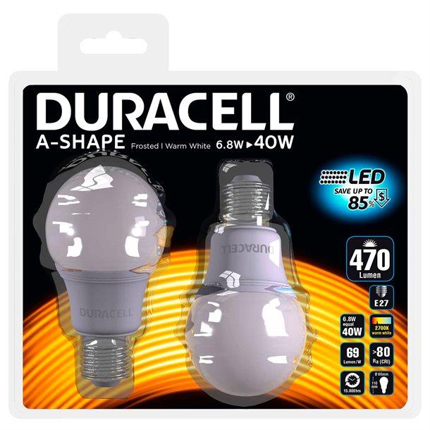 Duracell® LED pære E27 med 470 lumen - (svarer til 40W)