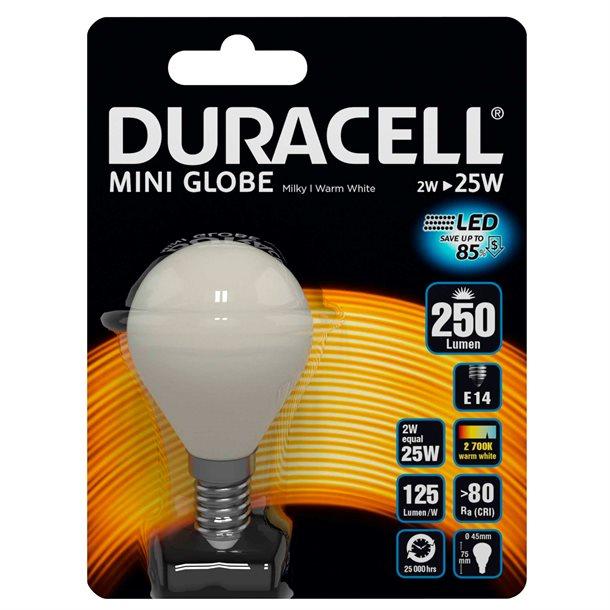 Duracell® LED filament - hvid krone pære E14 med 250 lumen - (svarer til 25W)