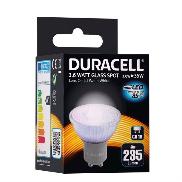 Duracell® LED GU10 glas spot med 235 lumen - (svarer til 35W)